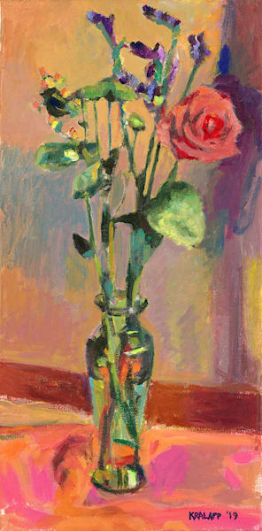 """Purple Straw Flowers in Green Vase"" fine art print by Karl Kralapp."
