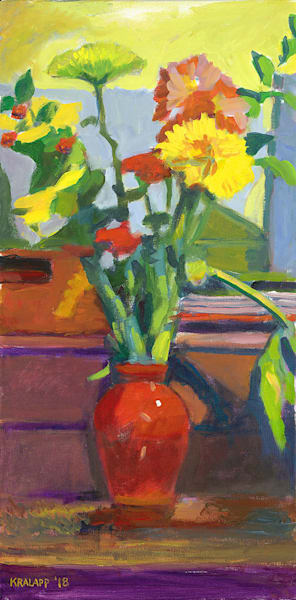 """BNB Bouquet in Red Vase"" fine art print by Karl Kralapp."