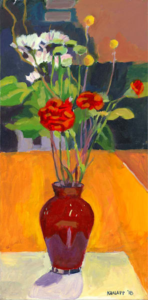 """Red Vase Bouquet"" fine art print by Karl Kralapp."