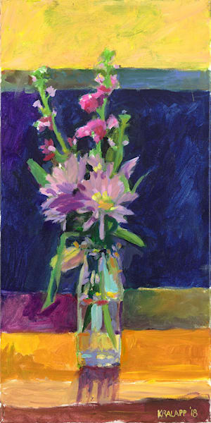 """Milk Bottle Purple Bouquet"" fine art print by Karl Kralapp."