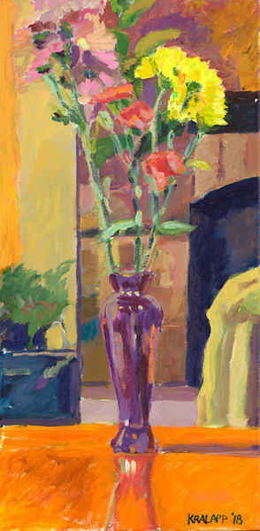 """Orange Table, Purple Vase"" fine art print by Karl Kralapp."