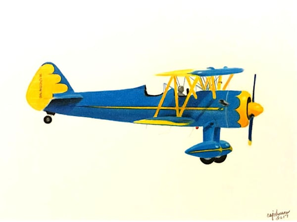 1920 Vintage Bi-Plane, From an Original Colored Pencil Painting