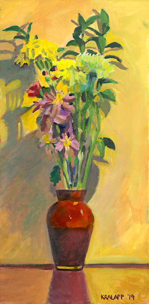 """Red Vase Bouquet on Yellow"" fine art print by Karl Kralapp."