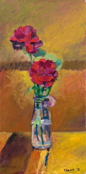 """Milk Bottle Roses"" fine art print by Karl Kralapp."