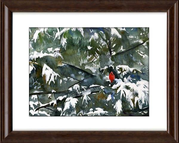 New England Cardinal Christmas Snow Scene Original Fine Art