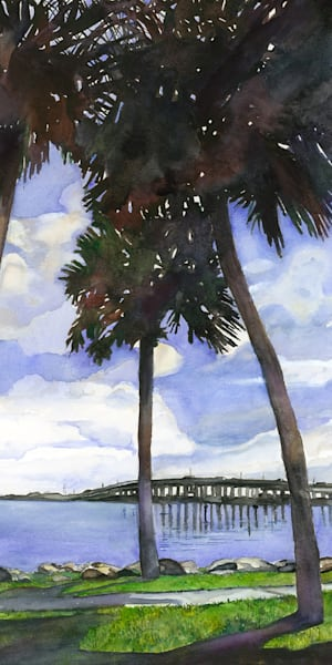 Causeway Silhouette, From an Original Watercolor Painting