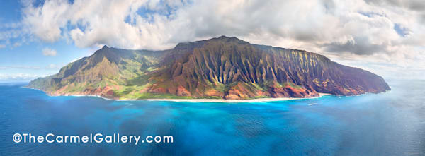 aerial view, blue waters, rugged Napali coast, Kauai north shore