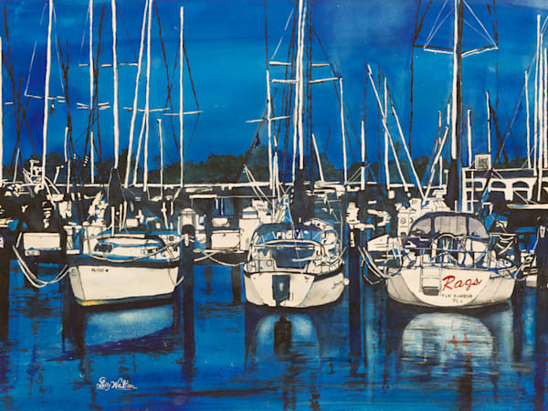 Dockside Blues, From an Original Watercolor Painting