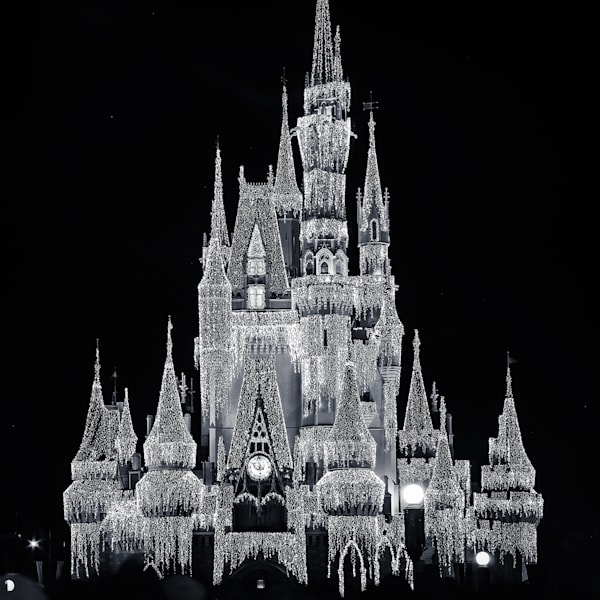 Black and White Christmas Cinderellas Castle - Disney Black and White Images