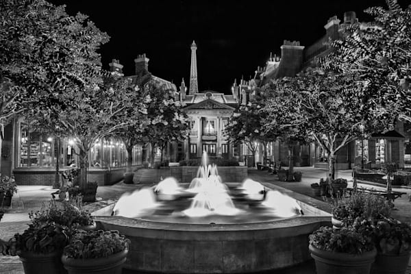 France Fountain in Black and White - Disney Pictures Black and White