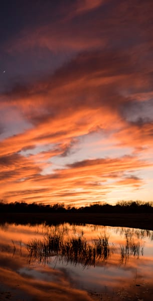 Sunset Reflection Pano, Damon, Texas