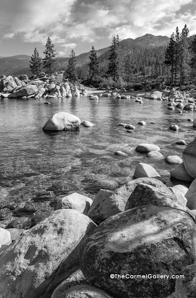 Lake Tahoe, Sand Harbor - black and white, trees, boulders and lake