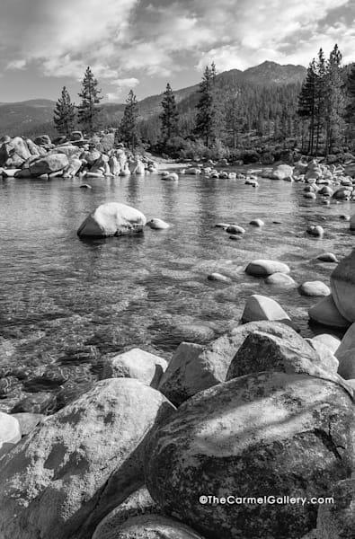 Lake Tahoe, Sand Harbor - black and white, trees, boulders and lake