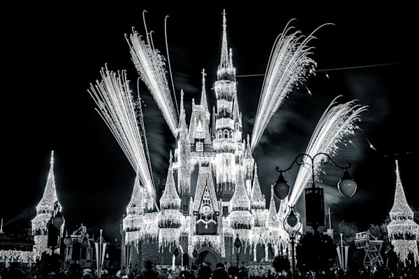 A Frozen Holiday Wish Black and White - Disney Castle Images Black and White