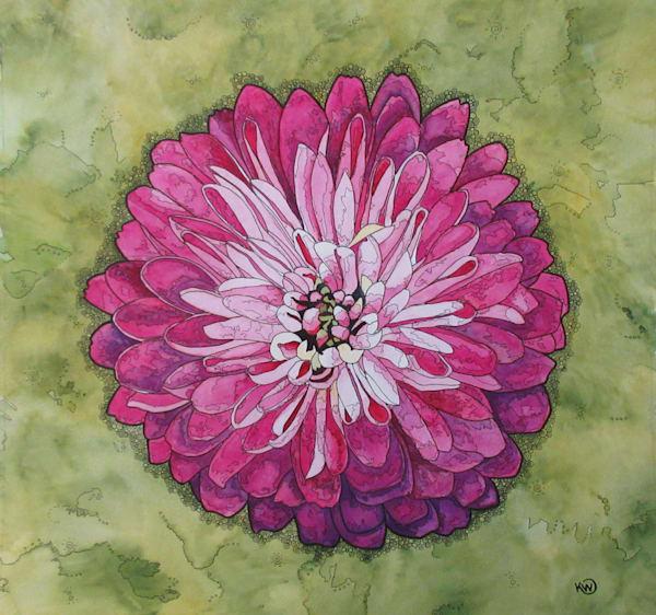 Pink Dahlia Art | Water+Ink Studios