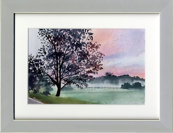 Foggy Autumn Sunrise Art | Machalarts Watercolor Studio