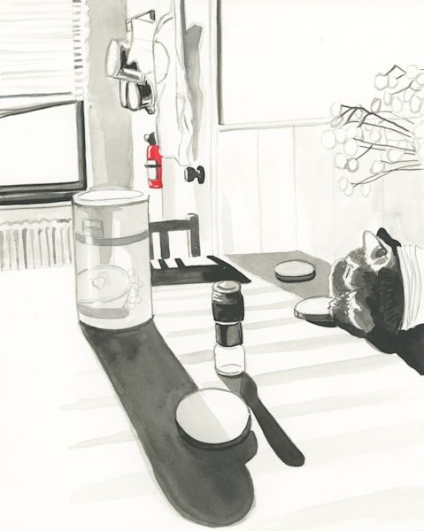 Morning at the Kitchen Table Original Drawing by Mary Younkin Available for Purchase - Wet Paint NYC Gallery
