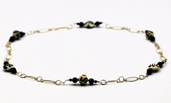 Handmade Lampwork Glass Bead Necklace, Onyx on Sterling