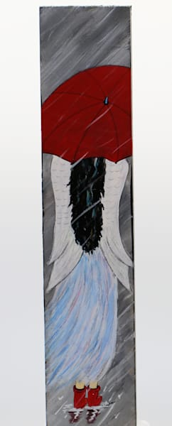 Angels Among Us Painting on Wood Block Series Wall Hanging (CN010) Red Umbrella