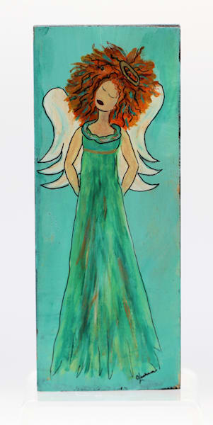 Angels Among Us Painting on Wood Block Series Wall Hanging (CN003 Angel in Green Dress)
