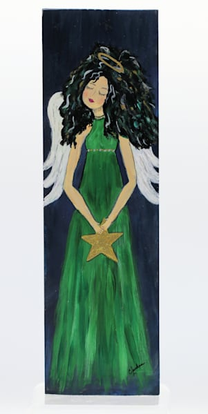 Angels Among Us Painting on Wood Block Series Wall Hanging (CN004 Green Dress Holding a Star)