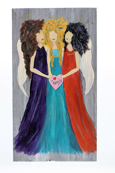 Angels Among Us  Painting on Wood Block Series Wall Hanging (CN012 Family)