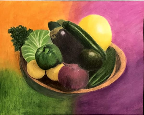 Vegetables on a Tray, From an Original Colored Pencil Painting