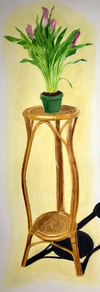 Calla Lilies on a Pedestal, From an Original Colored Pencil Painting