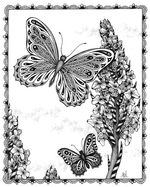 Butterfly & Hollyhocks