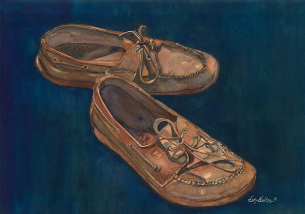 Blue Suede Shoes, From an Original Watercolor Painting