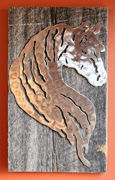 Horse Silhouette Metal Steel Rustic Wall Hanging on Reclaimed Barn Wood