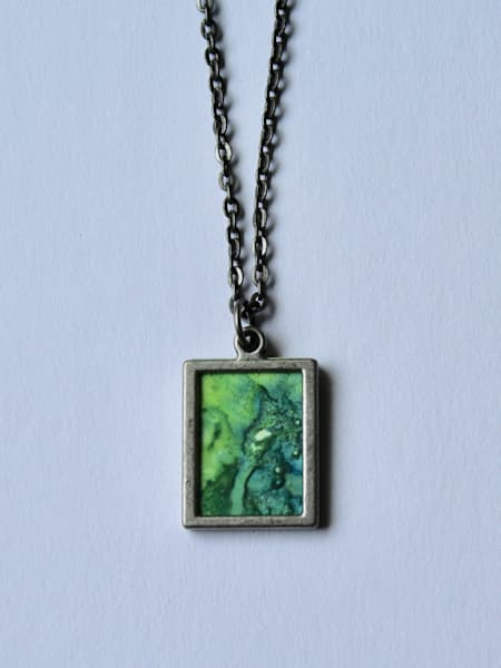 Indigo And Green Reversible Pendant | Karen Bishop Artist