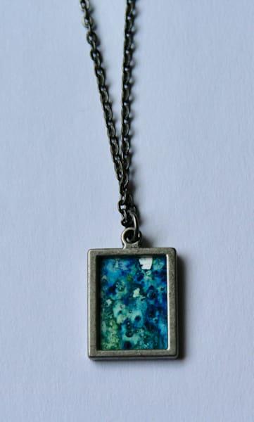 Indigo And Green Reversible Pendant | Karen Bishop Artist