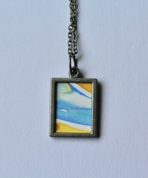 Blue And Yellow Reversible Pendant | Karen Bishop Artist
