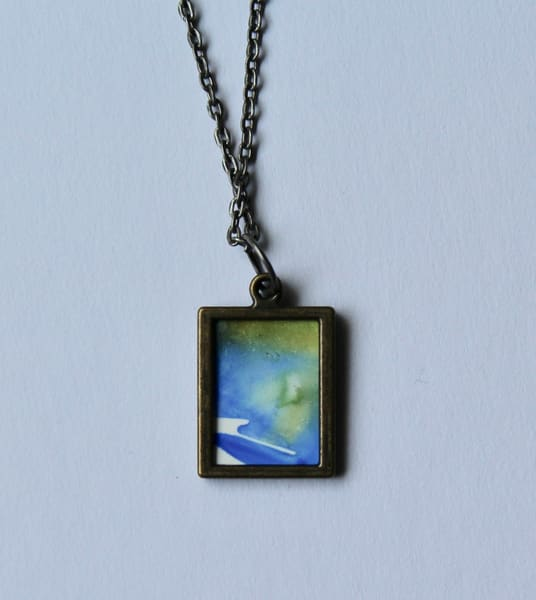 Yellow/Blue Pendant | Karen Bishop Artist