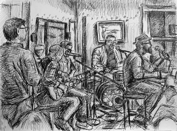 Live Drawing Of Brian Owens And The Deacons Of Soul  Art | David Spear