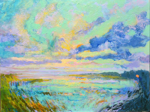 Tranquil Sunset Painting, Fine Art Print on Canvas by  Dorothy Fagan