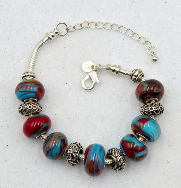 Handmade Lampwork Glass Bead Bracelet