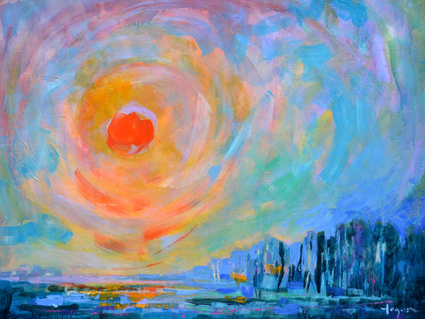 Twilight Sunset Painting, Large Abstract Canvas by Dorothy Fagan