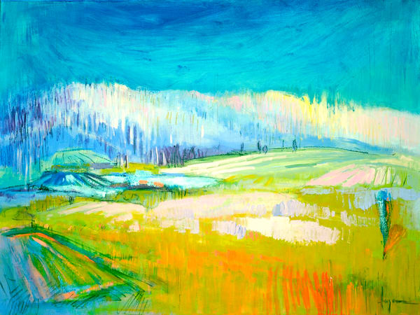 Large Abstract Landscape Painting Art Print by Dorothy Fagan