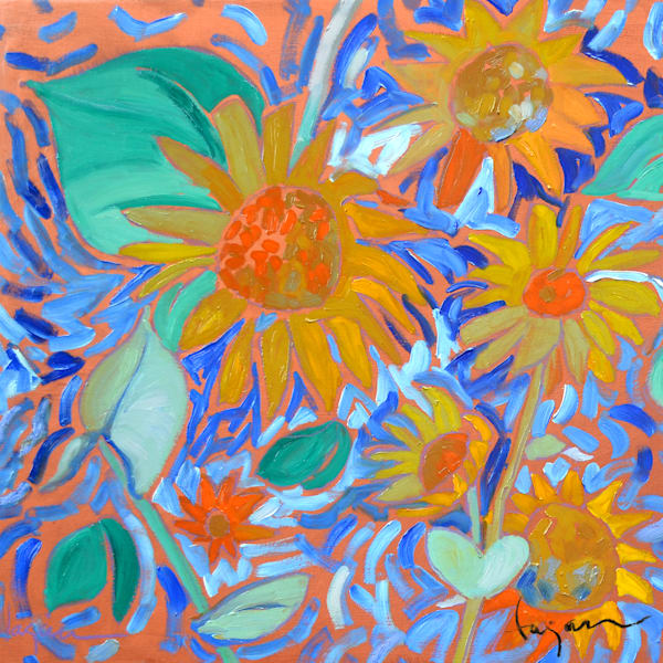 Abstract Sunflowers Painting, Canvas Print by Dorothy Fagan