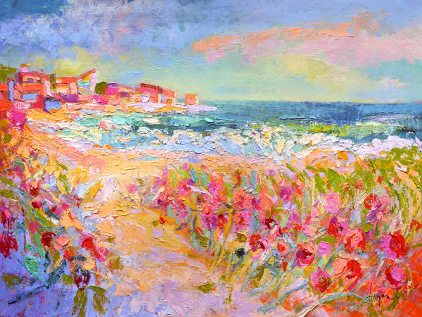 Beach Painting with Wild Roses, Limited Edition Print by Dorothy Fagan