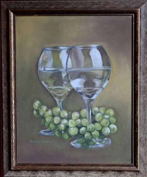 Original Pastel Drawing of Wine Glasses Untitled