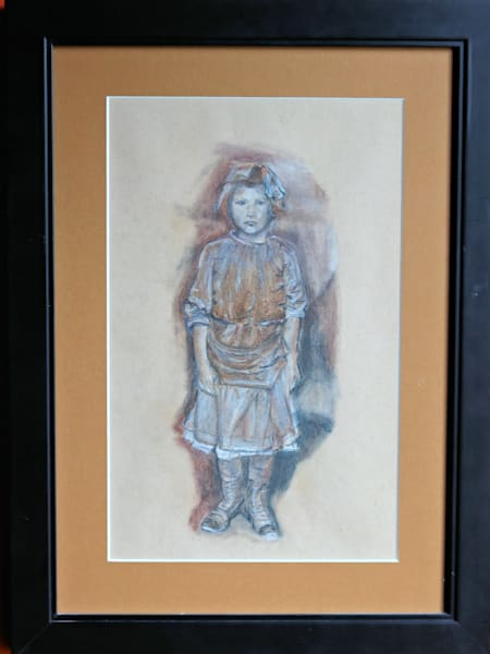 Original Pastel Drawing Untitled Little Girl
