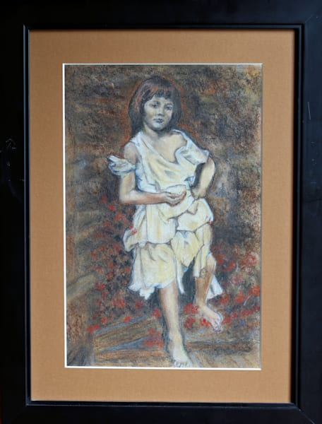 Original Pastel Drawing Untitled Little Girl Bare Footed