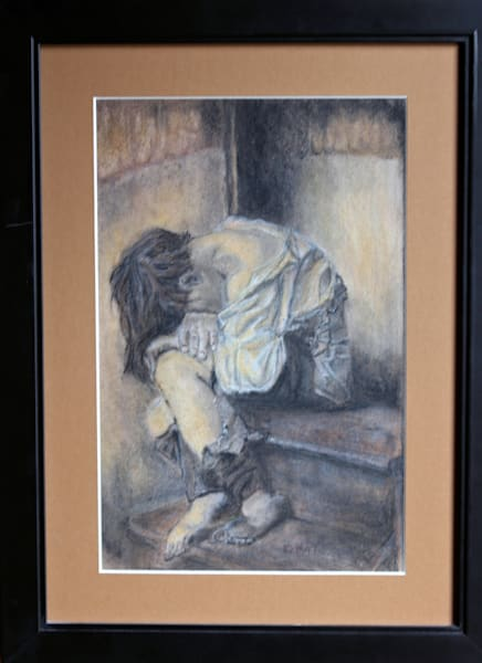 Original Pastel Drawing Untitled Little Boy