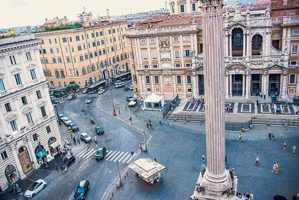 Centuries Old Facades and Modern Asphalt, The Piazza di Santa Maria Maggiore, Rome