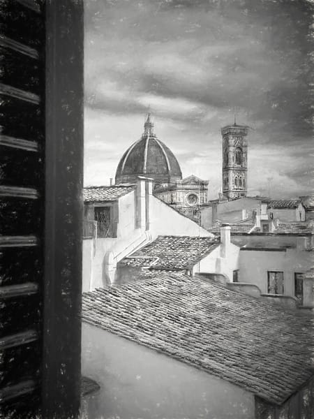 Rooftop View of The Duomo, Firenze in Charcoal