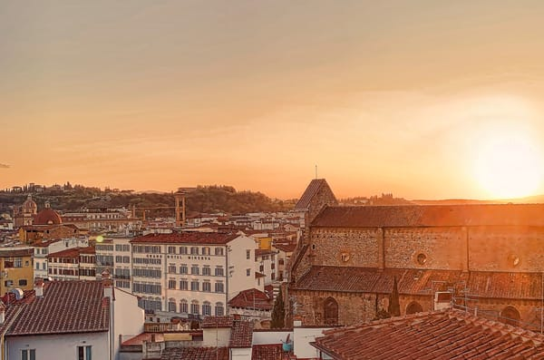 Sunset View of Santa Maria Novella and the Hotel Grand  Minerva