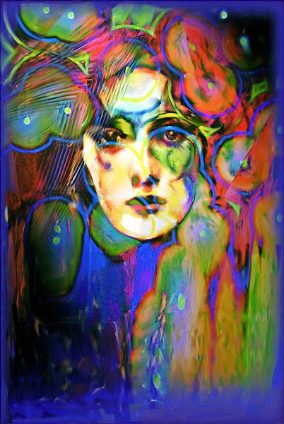 Blue Girl Art   L3 Art Decor
